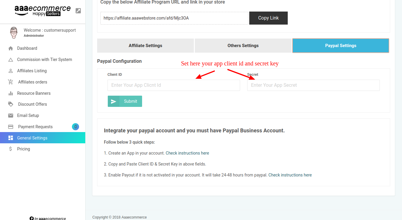 Affiliate paypal client Id
