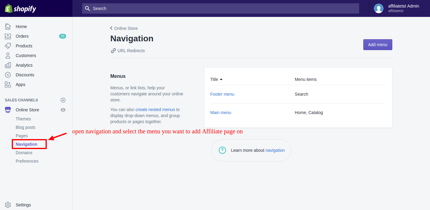 Affiliate navigation menu